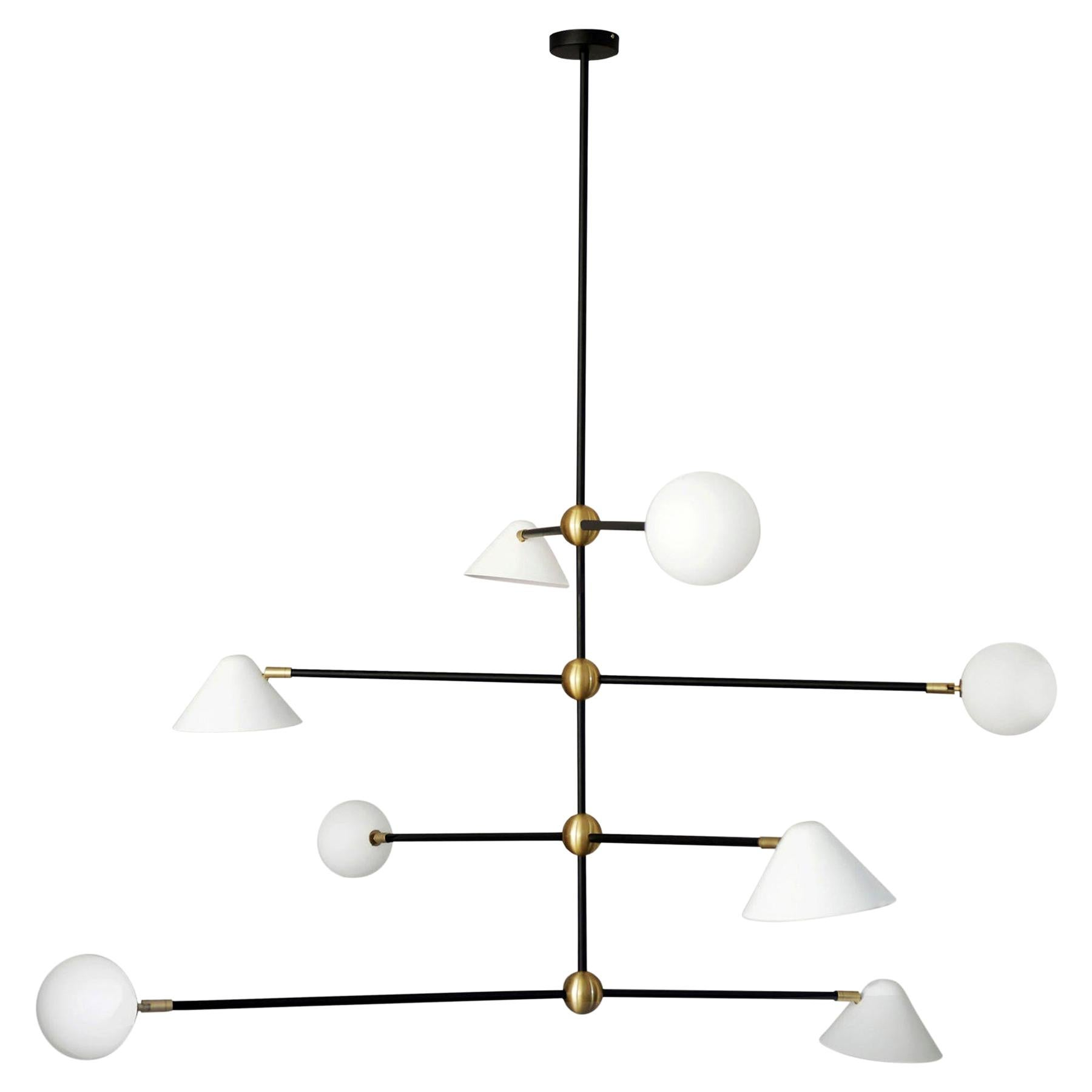 """Brass """"Ball and Shade"""" Pendant Light, Square in Circle"""