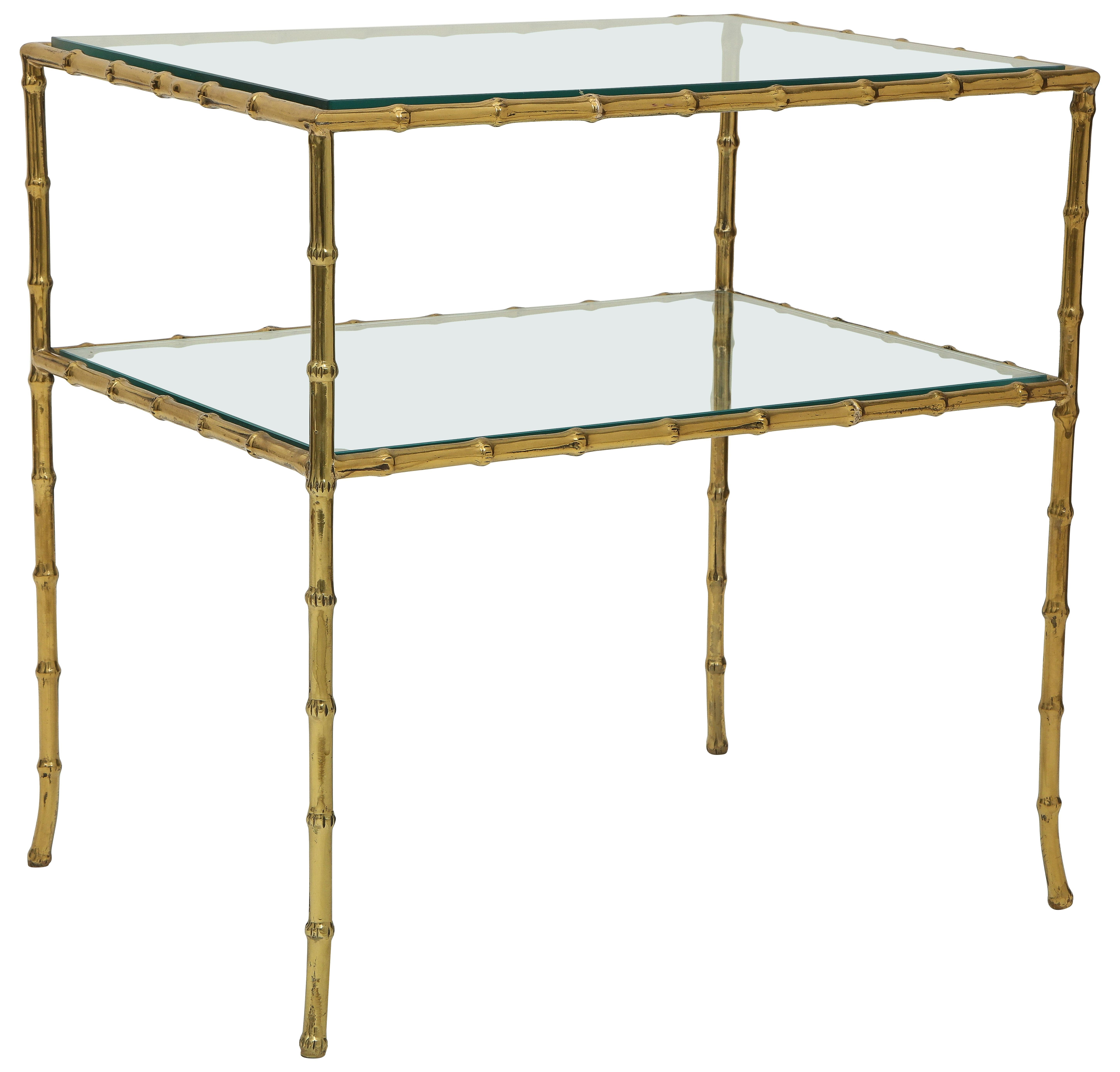 Brass Bamboo and Glass Two-Tier Side Table