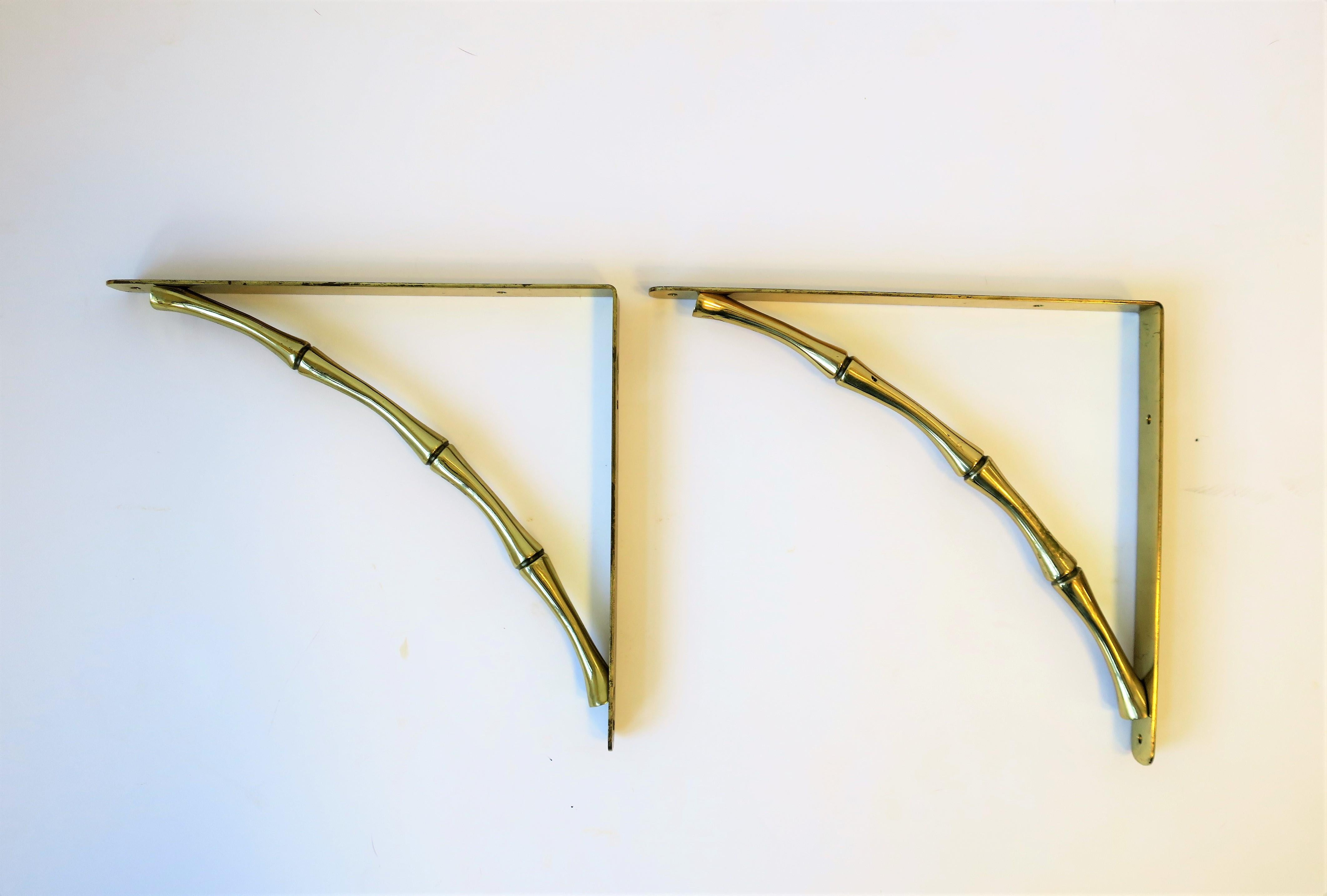 Hollywood Regency Brass Bamboo Hardware Wall Shelf Brackets For Sale