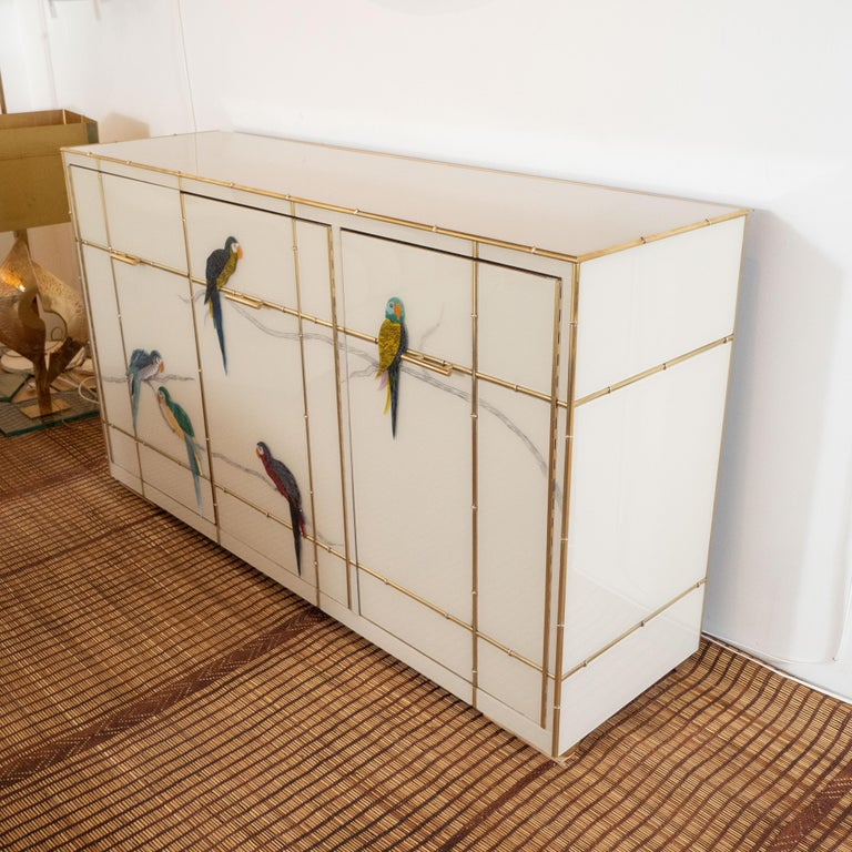 Custom Made Brass Bamboo Inlay and Ivory Murano Glass Parrot Sideboard, Italy For Sale 5