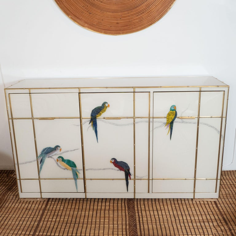 Custom Made Brass Bamboo Inlay and Ivory Murano Glass Parrot Sideboard, Italy In New Condition For Sale In New York, NY