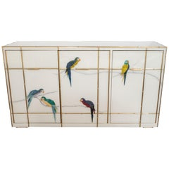Brass Bamboo Inlay and Murano Glass Parrot Sideboard, Italy 2019, Pair Available