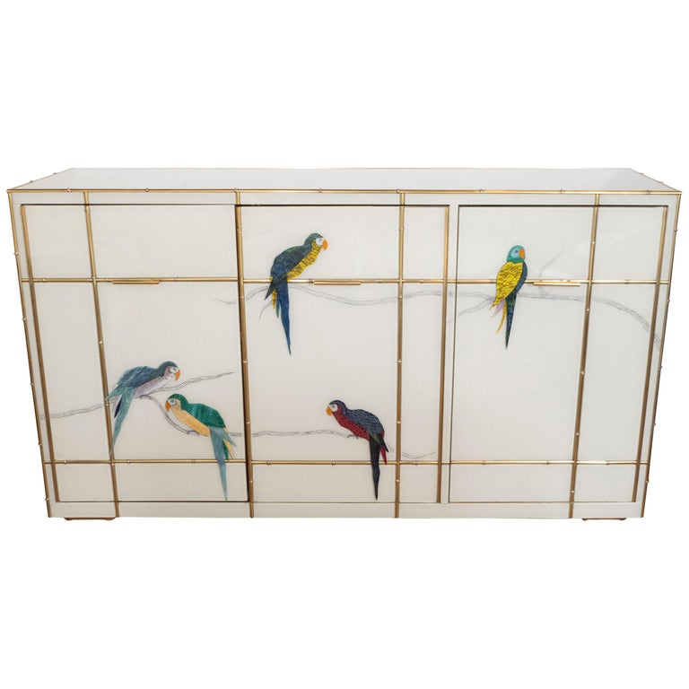Brass Bamboo Inlay and Murano Glass Parrot Sideboard, Italy 2019, Pair Available For Sale