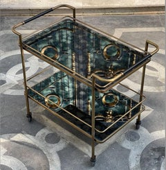 Brass Bar Cart with Aged Mirror and Leather