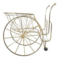 Brass Bar Cart with Big Wheels Glass Mirror Tray, circa 1970