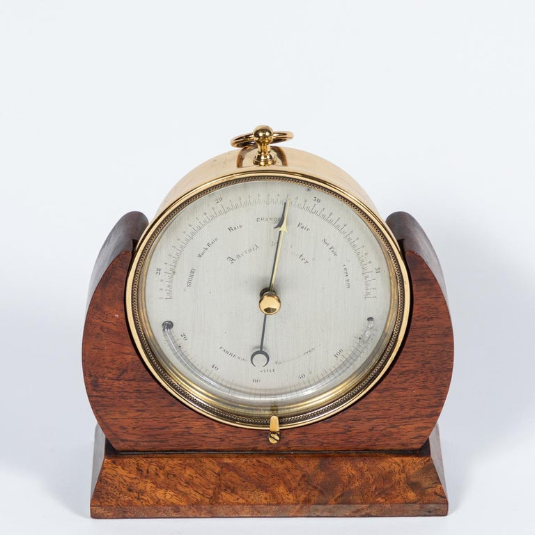 English Brass Barometer Resting in a Wood Base from Mid-19th Century England For Sale