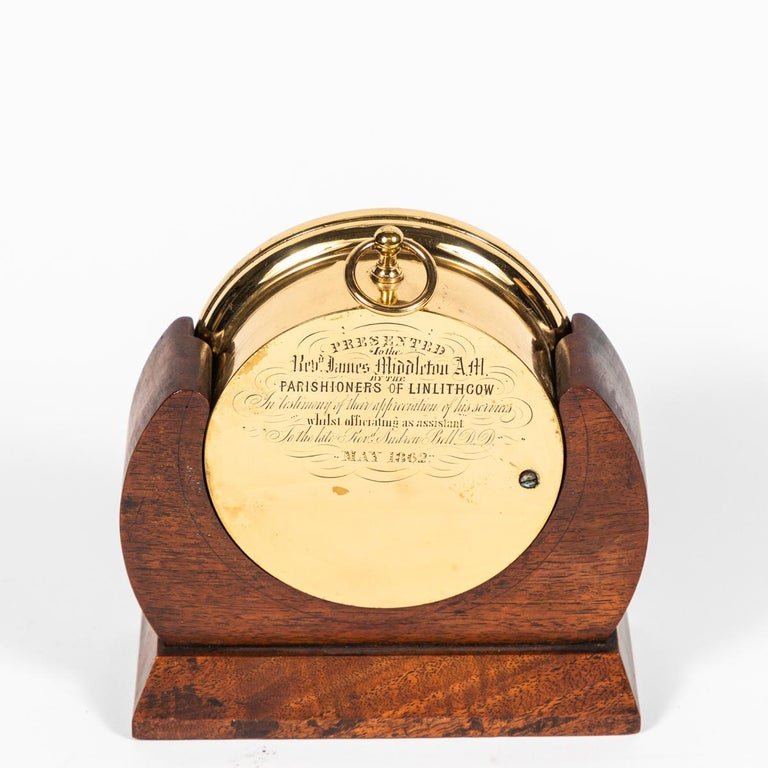 Brass Barometer Resting in a Wood Base from Mid-19th Century England In Good Condition For Sale In Los Angeles, CA