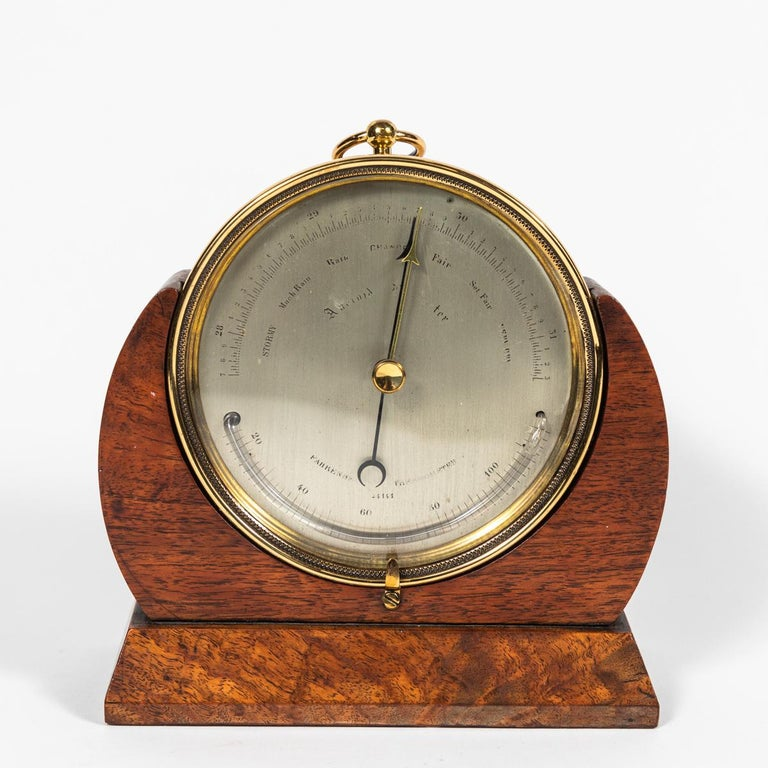 Brass Barometer Resting in a Wood Base from Mid-19th Century England For Sale 1