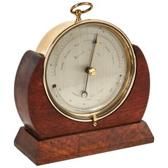 Brass Barometer Resting in a Wood Base from Mid-19th Century England