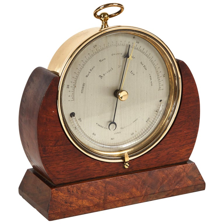 Brass Barometer Resting in a Wood Base from Mid-19th Century England For Sale
