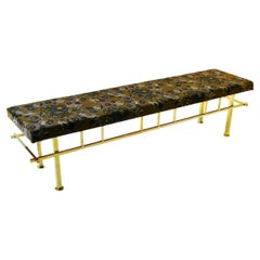 Brass Base Bench Covered with Jack Lenor Larsen Fabric