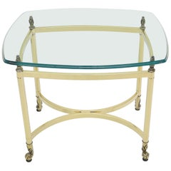 Brass Base Glass Top Rounded Rectangle Coffee Table