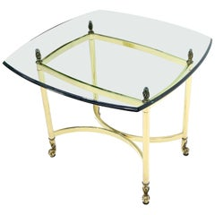 Brass Base Glass Top Rounded Square Coffee Table