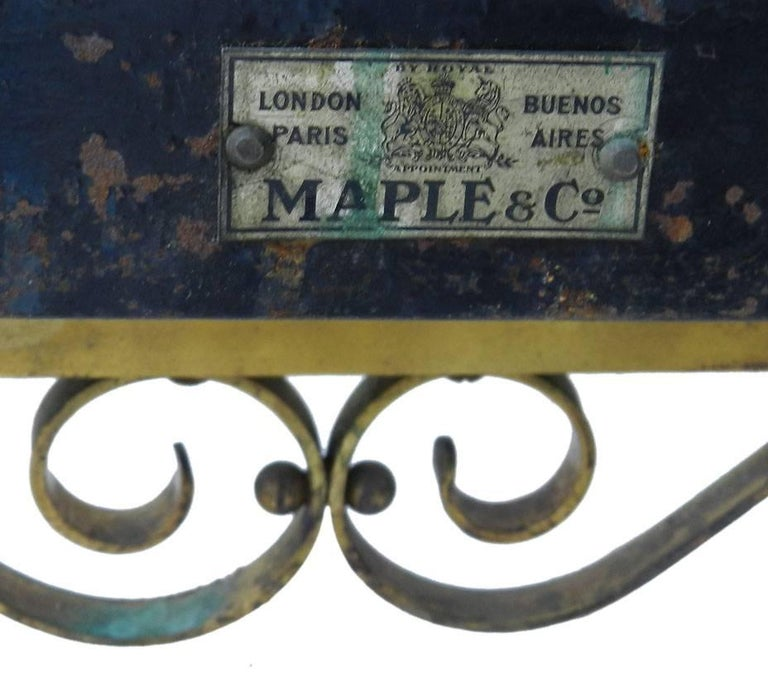 Arts and Crafts Brass Bed Maple & Co Antique US Queen UK King Size, English, circa 1900 For Sale