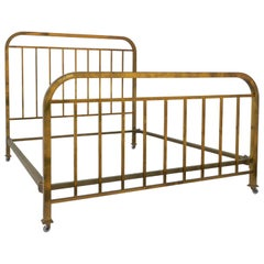 Brass Bed US Queen UK King Size Art Deco, French, c1930, Mid Century