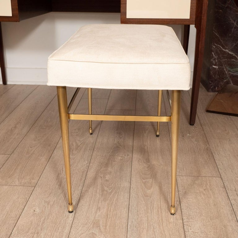 Mid-Century Modern Brass Bench with Fluted Legs For Sale