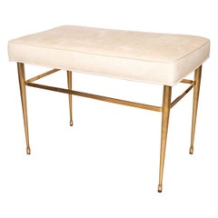 Brass Bench with Fluted Legs