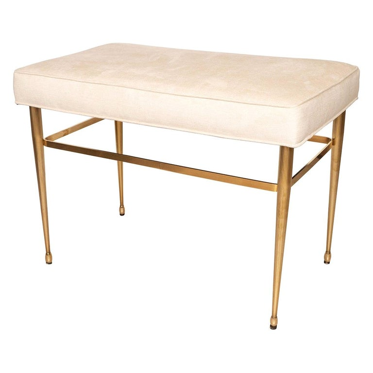 Brass Bench with Fluted Legs For Sale