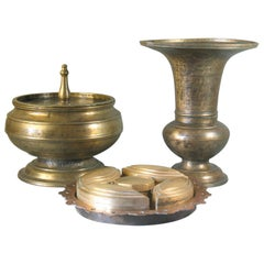 Brass Betel Nut Box & Cover together with Spitton and Brass Betel Nut Set