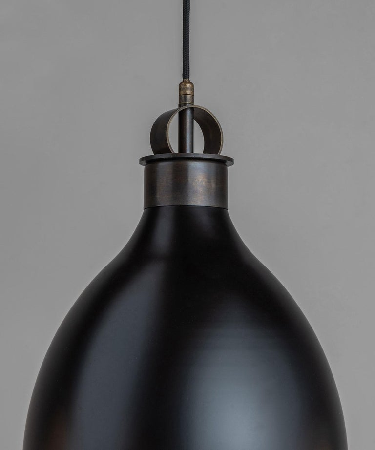 Frosted Brass and Black Metal Pendant, Italy, 21st Century For Sale
