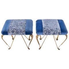 Brass Blue Velvet Midcentury Design Ottomans