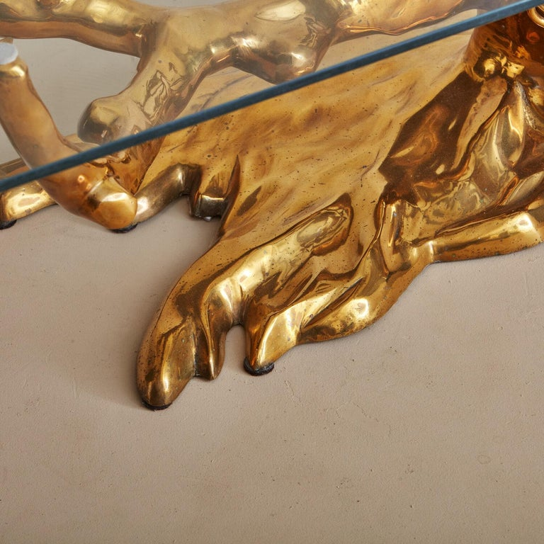 Brass Bonsai Coffee Table by Willy Daro, Belgium 1970's For Sale 4