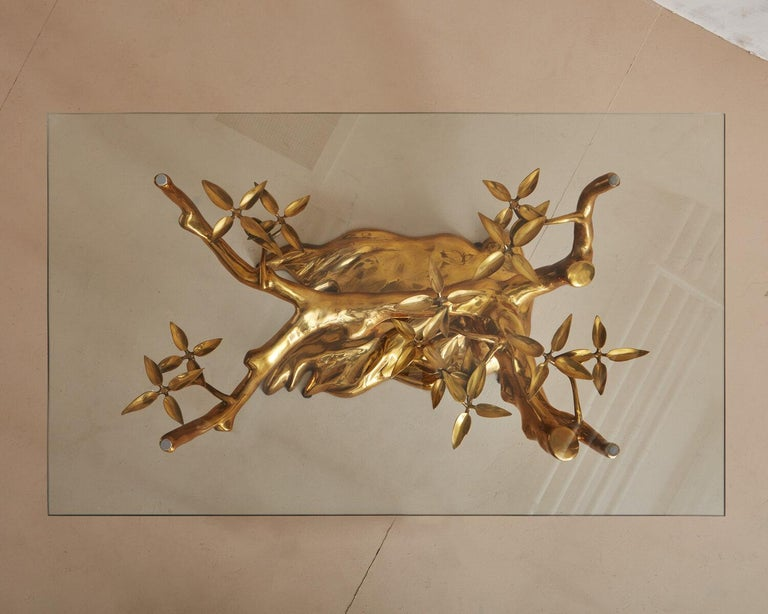 Brass Bonsai Coffee Table by Willy Daro, Belgium 1970's For Sale 6