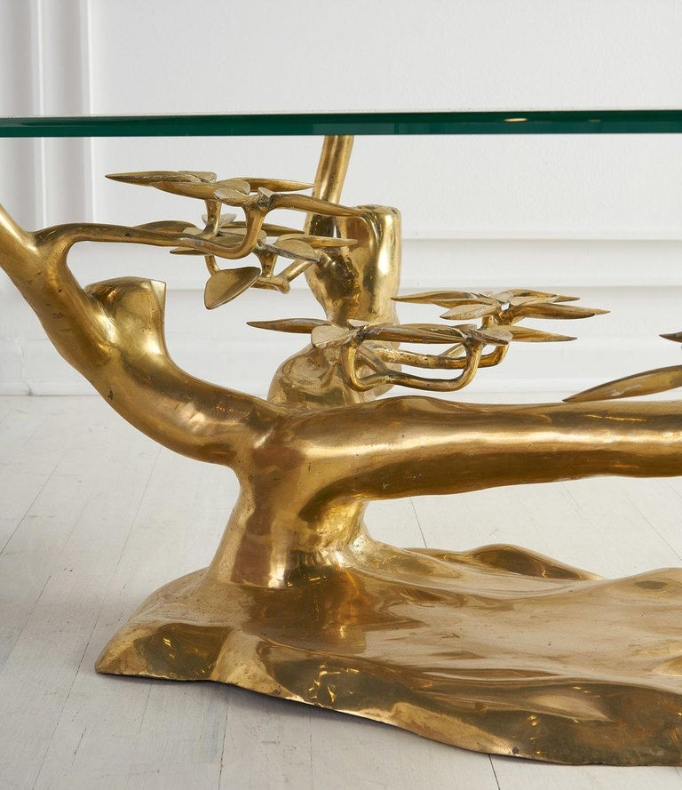 Mid-Century Modern Brass Bonsai Coffee Table by Willy Daro, Belgium 1970's For Sale