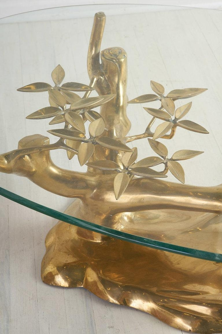 Late 20th Century Brass Bonsai Coffee Table by Willy Daro, Belgium 1970's For Sale
