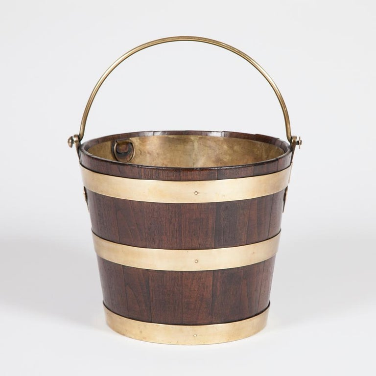 English Brass Bound Elm Peat Bucket For Sale