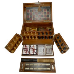 Brass Bound Mahogany Games Box / Compendium, circa 1890-1900