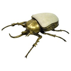 Brass Box Goliath Scarab with Shagreen Top by Ginger Brown