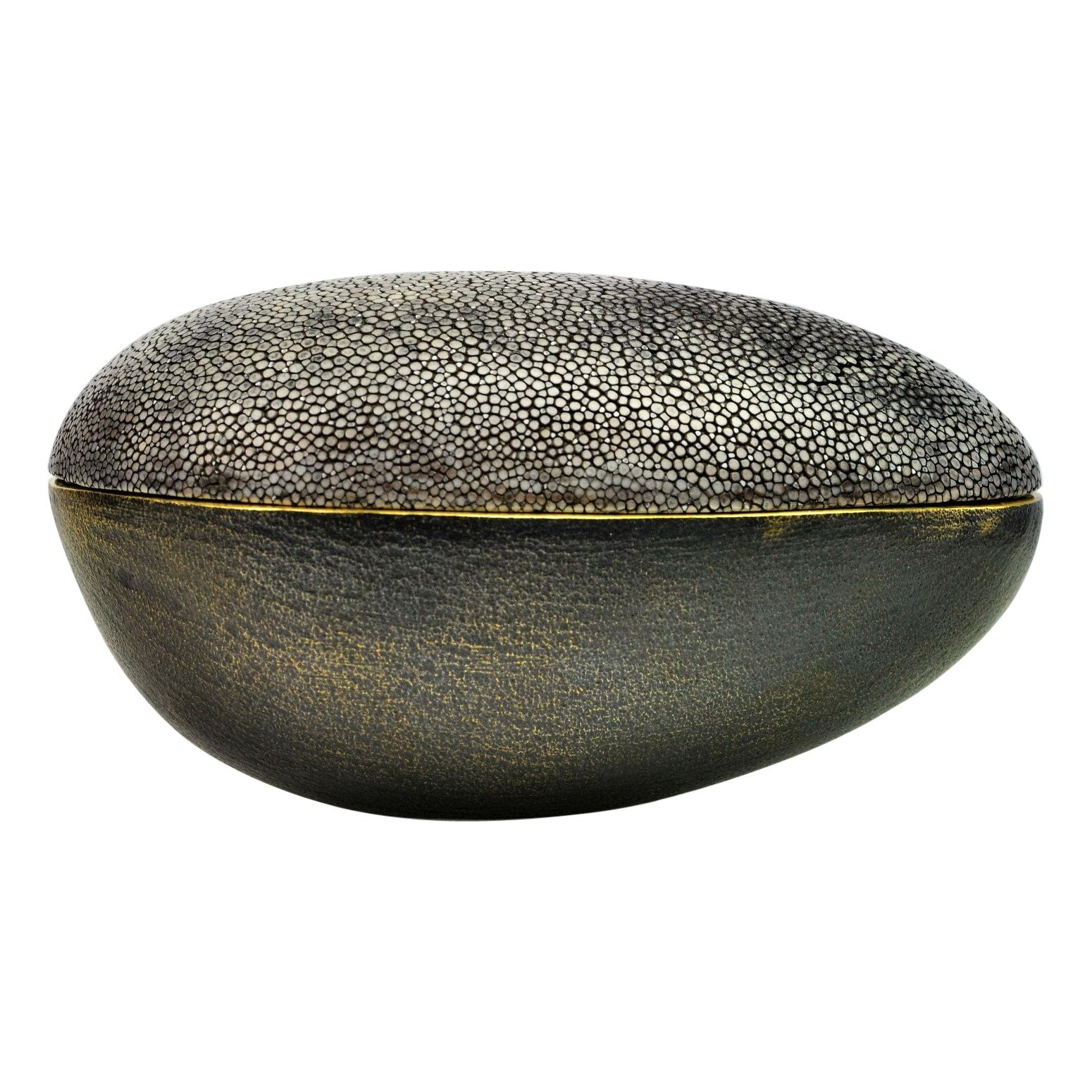 Brass Box with Shagreen Lid by Ginger Brown