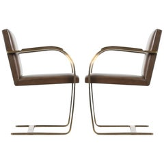 "Brass ""Brno"" Chairs by Mies van der Rohe for Knoll International, Signed 1976"