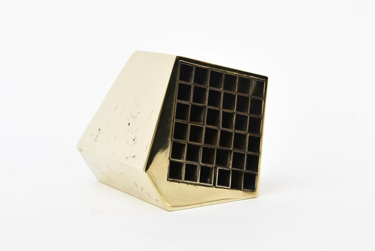 Brass Bronze Architectural Aiko Japanese Desk Accessory In Good Condition For Sale In North Miami, FL