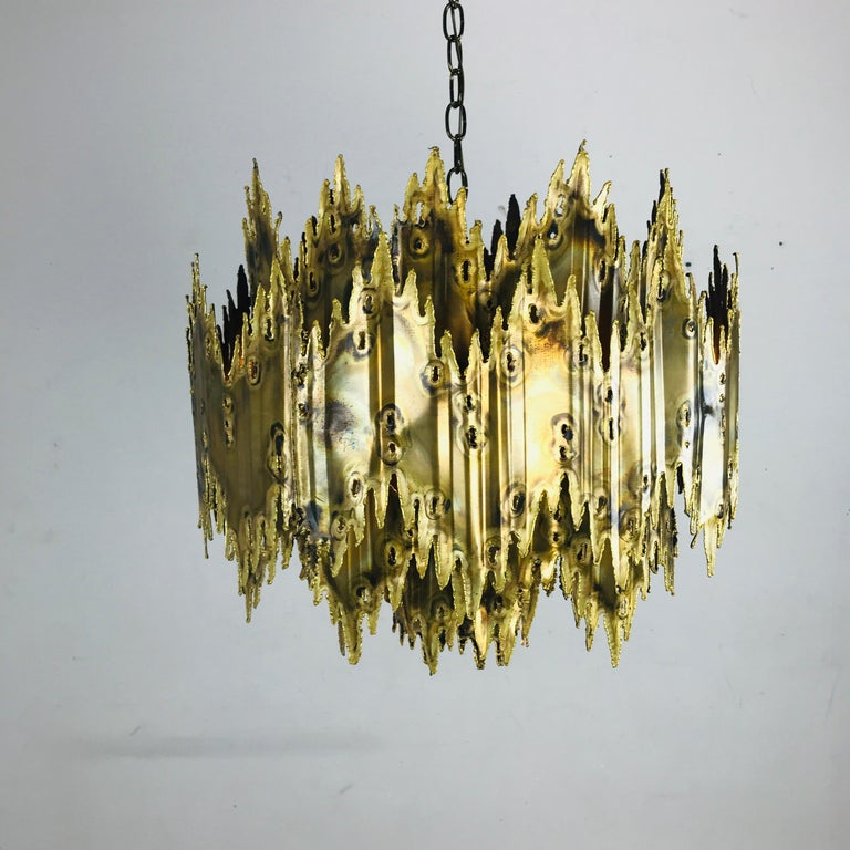 Brass Brutalist Chandelier by Feldman In Good Condition For Sale In Dallas, TX