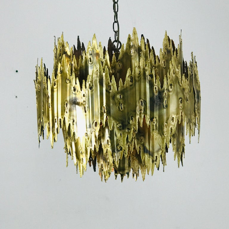 Brass Brutalist Chandelier by Feldman For Sale 3