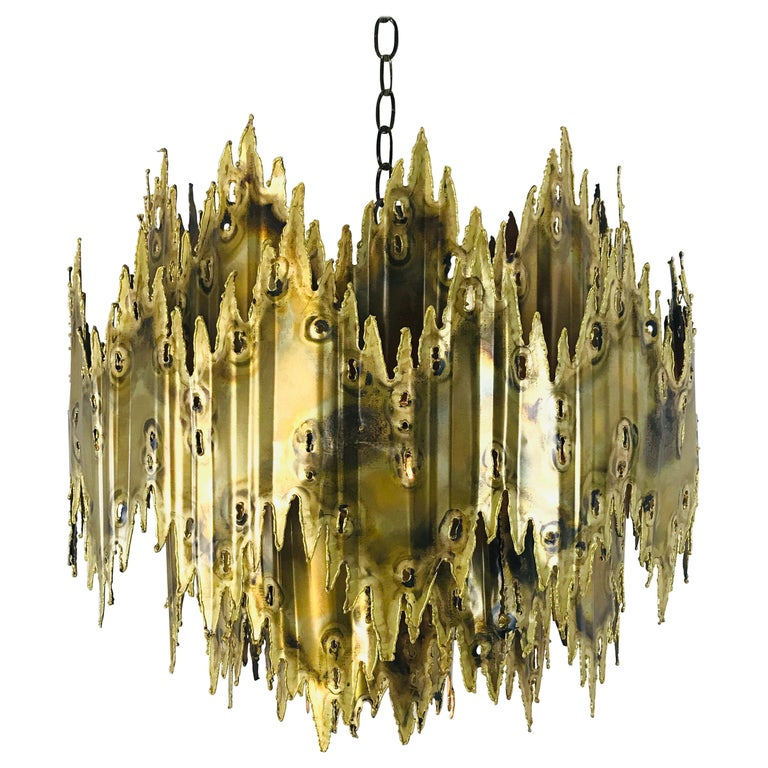Brass Brutalist Chandelier by Feldman For Sale