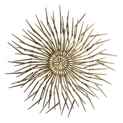Brass Brutalist Sunburst Wall Sculpture by William Bowie