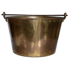 Brass Bucket with Handle from France Midcentury