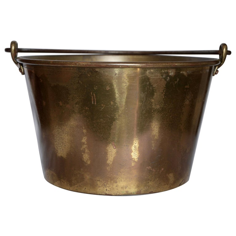 Brass Bucket with Handle from France Midcentury For Sale