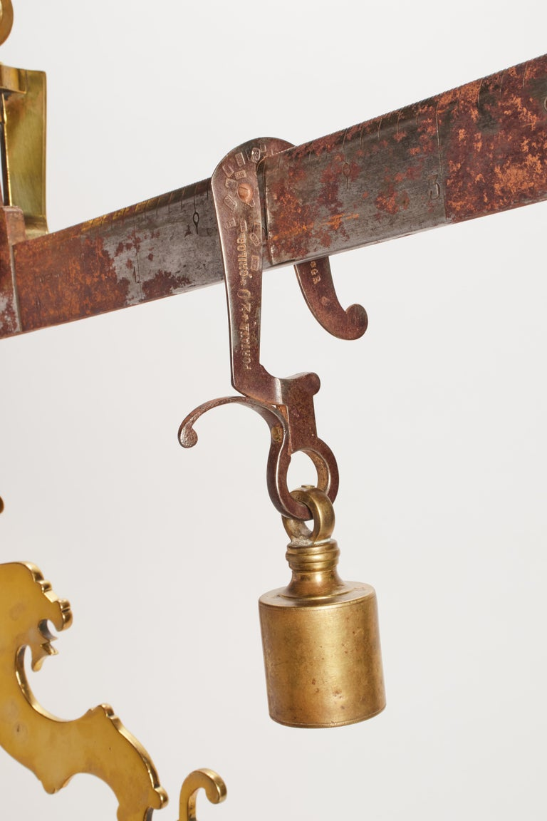 19th Century Brass Butcher Weighbridge, Kingdom of Sardinia, 1800 For Sale