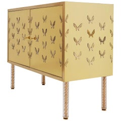 Brass Butterfly Cabinet, a Pair Available