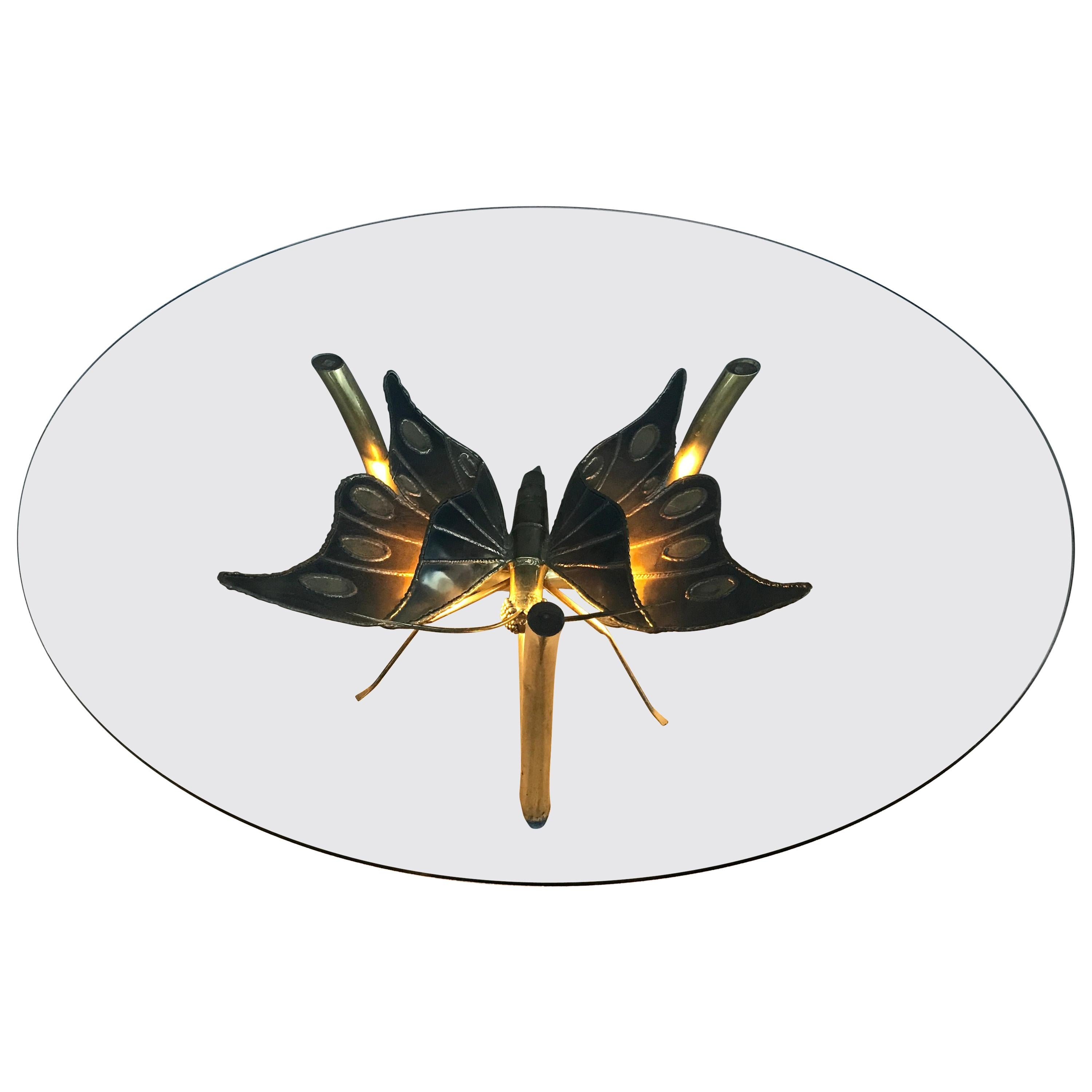 Brass Butterfly Coffee Table Attributed to Jacques Duval Brasseur