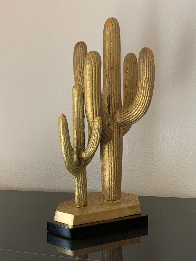 Hollywood Regency Brass Cactus Sculpture For Sale