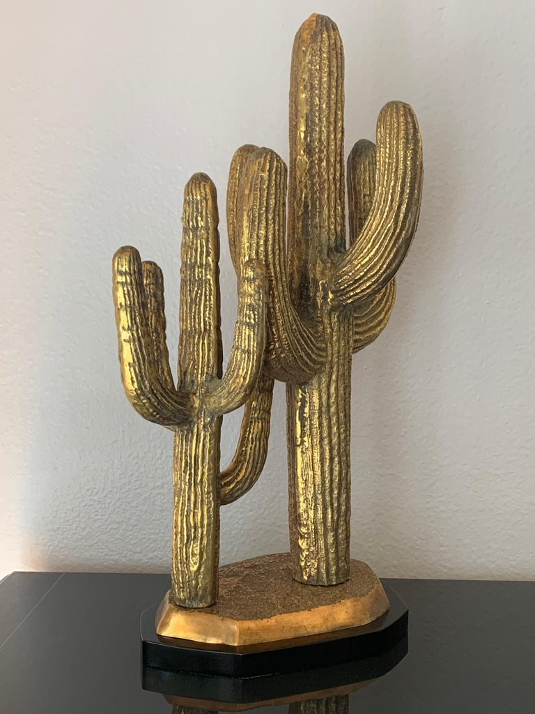 Patinated Brass Cactus Sculpture For Sale