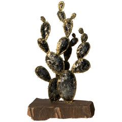 Brass Cactus Sculpture Style of Chervet