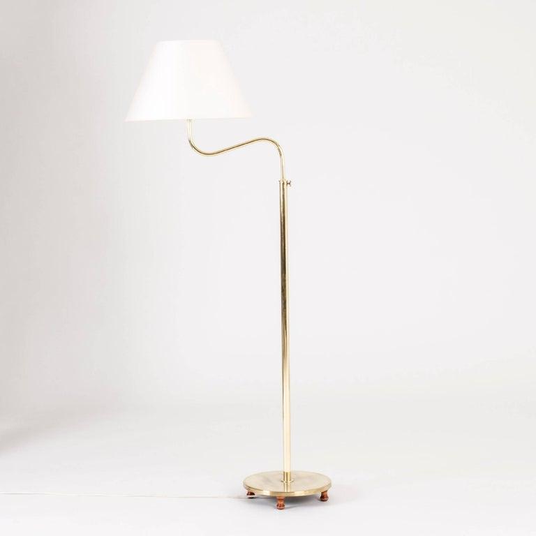 Scandinavian modern brass camel floor lamp by josef frank