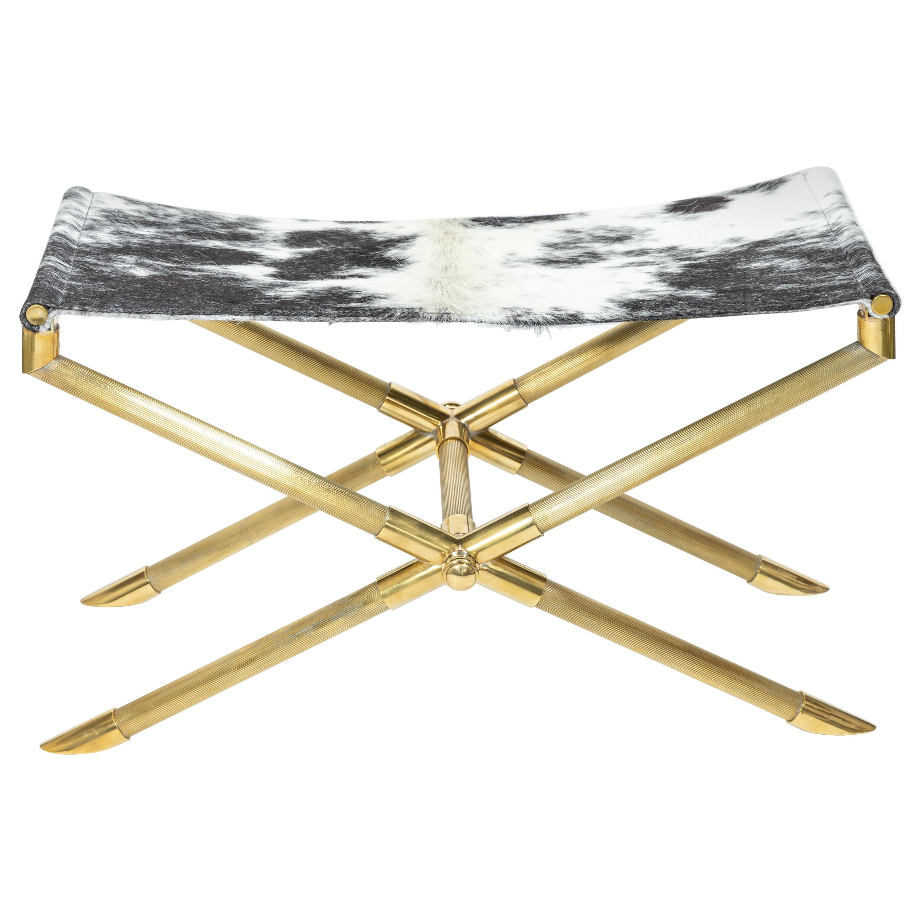 Brass Campaign Style Bench with Cowhide Strap Seat