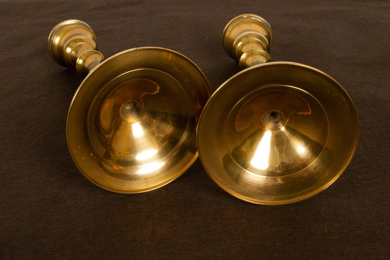Brass Candleholders, 19th Century, Set of 6 For Sale 7